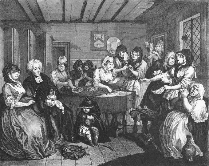Plate six from The Harlot's Progress by William Hogarth (1732)